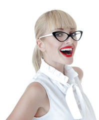 Smiling  sexy blonde  business women wearing glasses over white