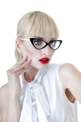 Smart sexy blonde  business women wearing glasses over white.
