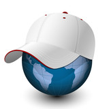 Globe in the baseball cap. Vector illustration