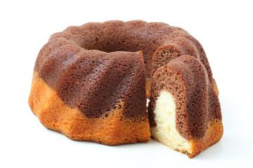 dessert torta di cioccolato e vaniglia su sfondo bianco