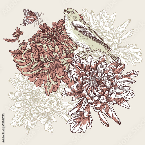 Flowers with bird illustration