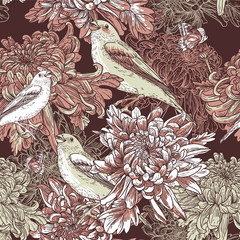 Flower garden with bird illustration