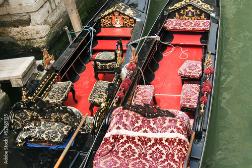 Detail of gondola in Venice, Italy