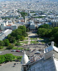 Sacre Ceure cathedral and aerial view of Paris, France