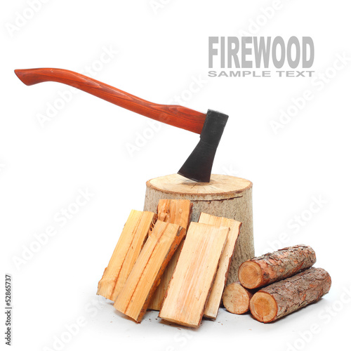 Cut log fire wood and lumberjack axe.
