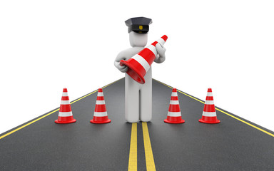 Policeman with traffic cones