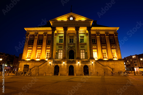 City Hall in Groningen city at night