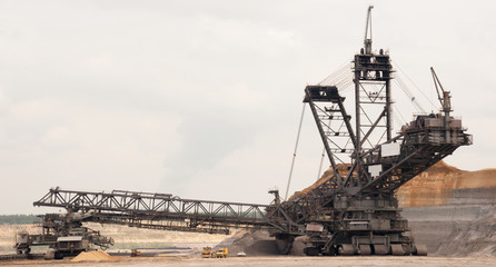 A large bucket wheel excavator in a brown-coal mine