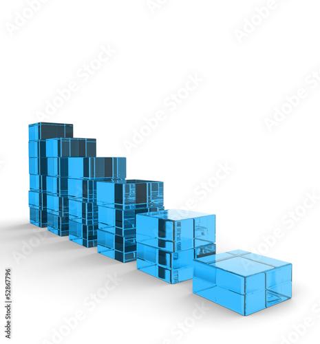 3D Glas Bausteine - Abwärtstrend Blau