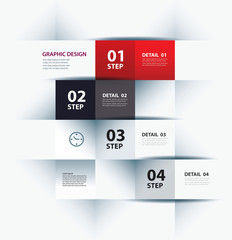 business step paper lines and numbers design template.