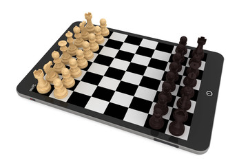 Chess over tablet PC chessboard
