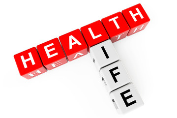 Healthcare concept. Cubes with health life sign