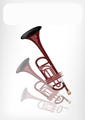 A Musical Trumpet with A White Banner