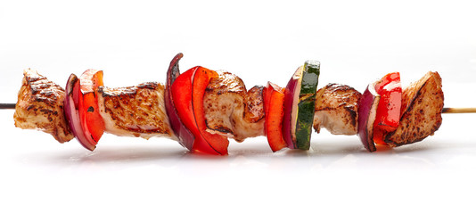 grilled pork fillet and vegetables