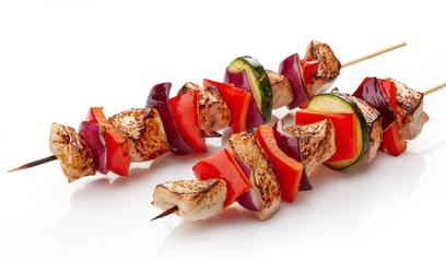 grilled pork fillet and vegetables