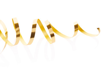 Gold ribbon isolated on white, clipping path included