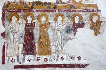 Bergamo - Fresco of prophets in San Michaele church