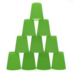 10 Grüne Trinkbecher gestapelt