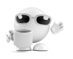 Golfball is having a refreshing cup of tea