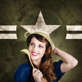 Cute military pin-up woman on army star background