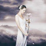 Charming woman with romantic sentiment
