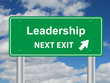 """""""LEADERSHIP NEXT EXIT"""" Signpost (business excellence success)"""