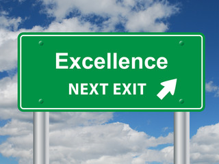 """EXCELLENCE NEXT EXIT"" Signpost (business leadership success)"