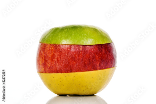 Green, yellow and Red Apple