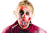 Unlucky woman with dice in mouth
