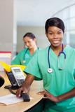 Nurse at work station