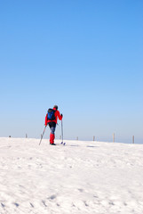 man on the snow with cross-country skiing
