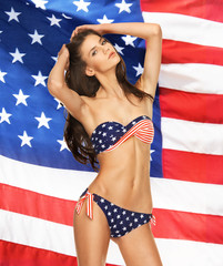 model in bikini with american flag