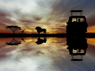 Safari jeep in African landscape