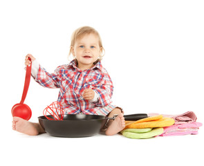 adorable baby cook with pan