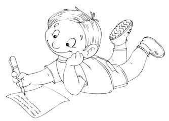 Junge, Kind, schreiben, Brief, Hausaufgaben