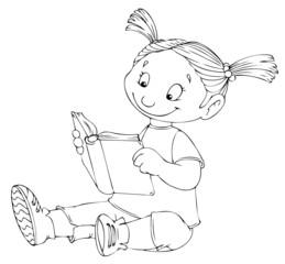Mädchen, Kind, lesen, lernen, Buch