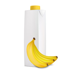 Banana juice in carton tetra pack and bananas near it