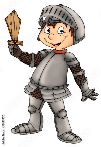 Fotobehang Ridders Ritter, Junge, Kind, Rüstung, Schwert