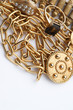 Pile of gold jewelry - ring, necklaces, bracelet,