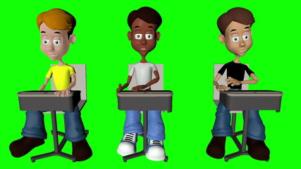 Diverse 3D Children in Classroom Setting on Green Screen
