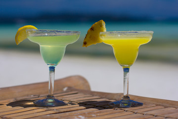 Classic and pineapple margarita cocktails at Philippines beach