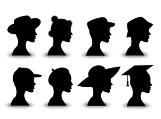 Profile of human silhouettes in different headdresses