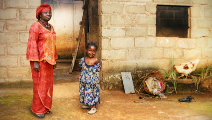 Black African little girl and mother