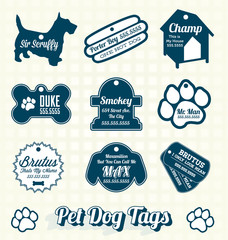 Vector Set: Pet Dog Name Tags and Labels
