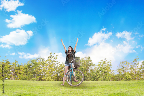 Girl With Bicycles On Summertimes