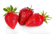 Three strawberry isolated on white