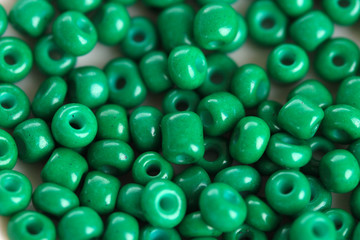Green beads close-up