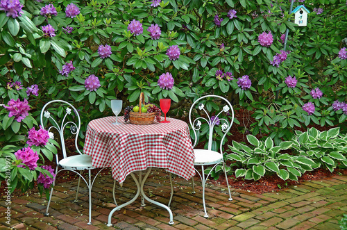 old-fashioned table in garden