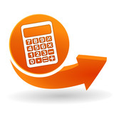 calculatrice sur bouton web orange