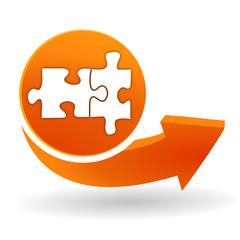 puzzle sur bouton web orange